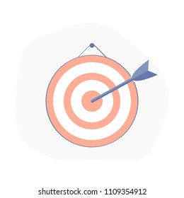 Target for darts, darts board, the arrow hit the target, aim. Achieve the goal icon concept, accurate hit, mission or task Complete. Flat outline vector illustration.