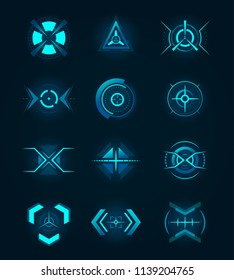 Target element of the futuristic interface. Isolated aim of sniper weapon. Futuristic game target. Hud icon for crosshair, accuracy sign for ui or radar location. Aiming and military, rifle and gun