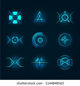Target element of the futuristic interface. Isolated aim of sniper weapon. Futuristic game target. Hud icon for crosshair, accuracy sign for ui or radar location.