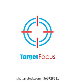 Target focus abstract vector logo. Stay focused vector concept web logo.