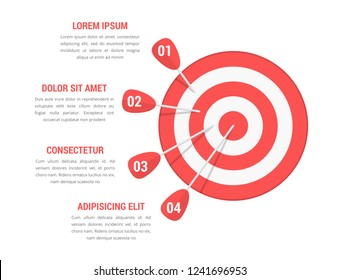 Target with four arrows with numbers and text, infographic template, vector eps10 illustration