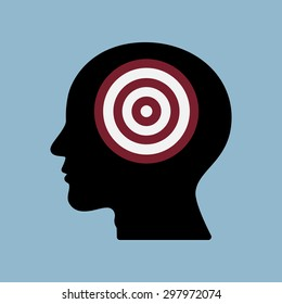 target goal in human head, goal achieve concept. vector illustration