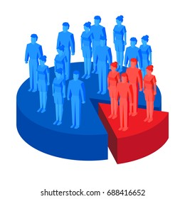 Target group (focus group) - business concept. Lot of blue and red isometric people standing on segments of pie chart. Vector illustration for infographics.