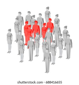 Target group (focus group) - business concept. Some red isometric people standing among gray crowd. Vector illustration for infographics.