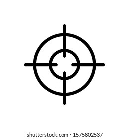 Target gun trendy style vector silhouette icon illustration sign isolated on white background for military, army and war