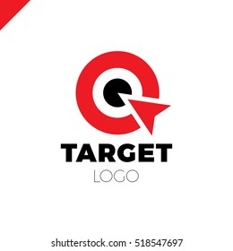 Target hit two circle with arrow Branding Identity Corporate vector logo design template Isolated red and black color