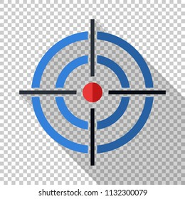 Target icon in flat style with long shadow on transparent background