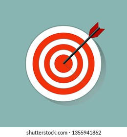Target icon in flat style on gray background. Arrow in the center aim. Vector design element for you business projects. Vector illustration EPS 10.