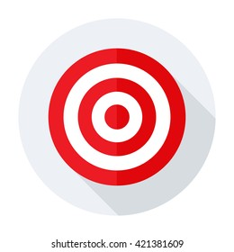 Target icon red vector flat bullseye strategy goal sign/symbol