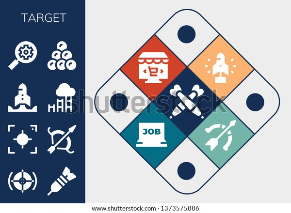 Target Icon Set 13 Filled Target Stock Vector Royalty Free