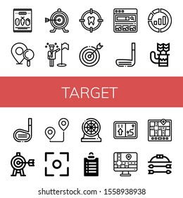 target icon set. Collection of Mix, Location pin, Target, Goals, Search engine, Golf stick, Marketing, Quiver, Route, Focus, Darts, Navigator, Bow and arrow icons