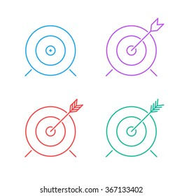 target icon set. flat line advantage icon. successful shot in the darts target. isolated on white background. vector illustration