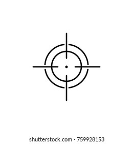 Target icon, sight sniper symbol line icon on white background