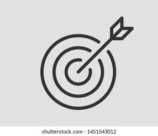 Target icon vector. Darts board with arrow isolated.