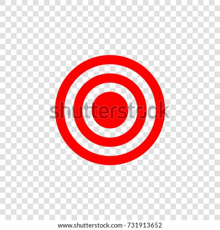 Target Icon Vector Red Flat On Transparent Background
