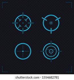 Target icons set sniper scope symbol isolated on a grey background. Military and war, weapon and gun, optical rifle and location, radar theme. Target and aim, targeting and aiming.