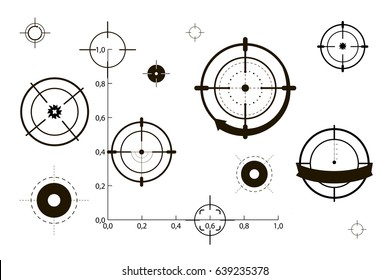 Target icons set sniper scope symbol isolated on a white background, the cross and goal vector illustration.
