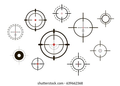 Target icons set sniper scope symbol isolated on a white background, the cross and the goal vector illustration.