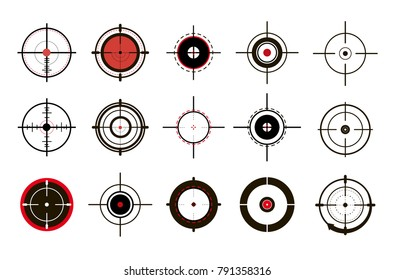 Target icons set sniper scope symbol isolated on a grey background, the crosshair and the target vector illustration.