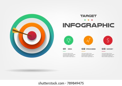 Target infographics step by step. Element of chart, graph, diagram with 3 options - parts, processes, timeline. Vector business template for presentation, workflow layout, annual report, web design