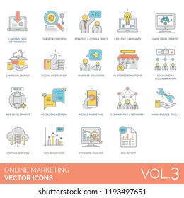 Target keywords, consultancy, creative campaigns, social integration, business solutions, in-store promotions, web development, social engagement, seo benchmark, report online marketing vector icons.