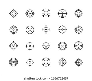 Target line icons. Aim for sniper shot, military sign and shooter game bullseye mark, accuracy cursor. Vector graphics cross and circles symbols for gun shot on white