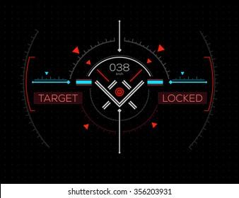 Target Locked Heads-Up Display - HUD. Sci-Fi User Interface. Vector Illustration.