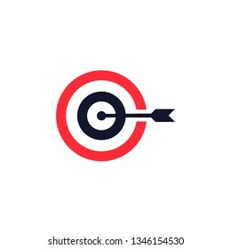 Target logo design. Dartboard and dart vector design. Arrow logotype