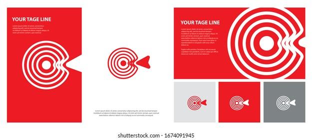 Target logo. Red aim, arrow, compass, speech bubble, Idea concept, perfect hit, winner, target goal icon. Success abstract logo