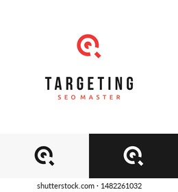 A target logo symbol with cursor inside it in negative space. Very suitable for search engine optimization (SEO) logo business