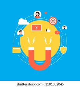 Target market concept, attracting customers, customer retention, digital marketing and promotion, advertising flat vector illustration design for web banners and apps
