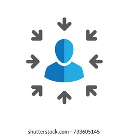Target market icon with arrow image and person