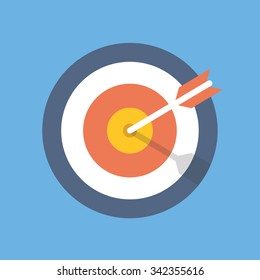 Target marketing icon. Target with arrow symbol. Modern flat design concept for web banners, web sites, printed materials, infographics. Flat vector illustration isolated on blue background