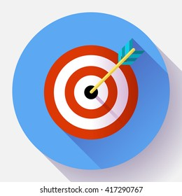 Target marketing icon. Target with arrow symbol. Modern flat design concept for web banners, web sites, printed materials. Flat vector design style