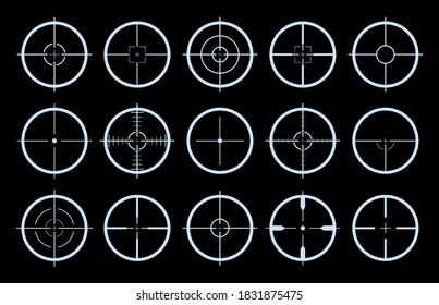 Target on crosshair of gun. Sniper sight icons. Cross scope for rifle of army. Logo for military games. Shot in aim. Lens with focus pointer for weapon. Precise telescope. Radar symbols. Vector.