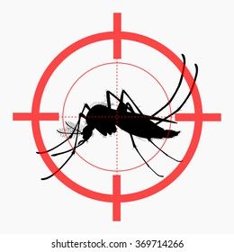 Target on mosquito. Mosquitoes carry many disease such as dengue fever, zika disease, yellow fever, chikungunya disease, filariasis, malaria , enchaphalitits and else.