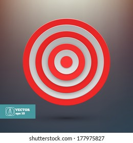 Target with red and white lines. Vector illustration
