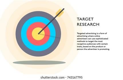 Target research concept vector flat poster design. Illustration with target with arrow and place for text