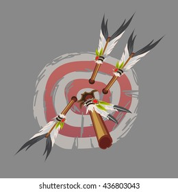 The target is struck by the arrows of the injun. Vector.