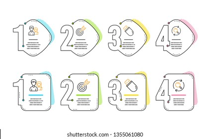 Target, Usb stick and Teamwork icons simple set. Search sign. Targeting, Memory flash, Man with woman. Find results. Business set. Infographic timeline. Line target icon. 4 options or steps. Vector