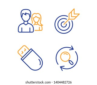 Target, Usb stick and Teamwork icons simple set. Search sign. Targeting, Memory flash, Man with woman. Find results. Business set. Linear target icon. Colorful design set. Vector
