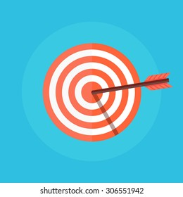 Target vector icon in a flat style. Concept target market, audience, group, consumer.  Bullseye or goal Isolated sign. Illustration of a target with an arrow.