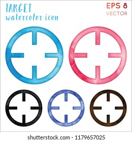 Target watercolor icon set. Beautiful hand drawn style symbol. Favorable painting. Modern design for infographics or presentation.