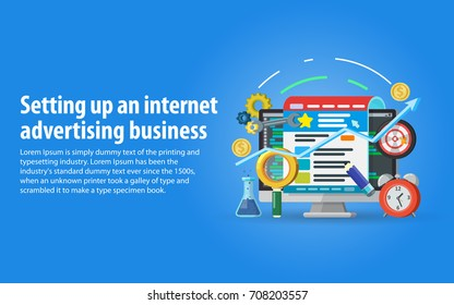 Targeting audience through advertising, branding, and digital media marketing concept. Setting up and analytics of advertising on the Internet. Monitor, web page, magnifying glass in a flat style.