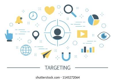 Targeting concept . Audience identifying, data gathering, segmentation and advertising. Idea of marketing strategy and customer engagement. Set of marketing icons. Isolated flat vector illustration