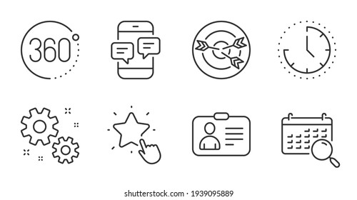Targeting, Id card and 360 degrees icons set. Search calendar, Ranking star and Time signs. Vector