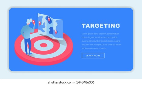 Targeting isometric landing page template. 3d finance expert, investor, businessman on dartboard choosing future projects niche on map. Targeted marketing consultancy website page design layout