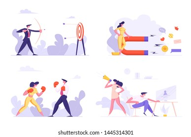 Targeting, Social Media Marketing, Business Competition, Hiring, Businesspeople Characters Box Fighting, Shoot with Bow to Target, Magnet Attracting Followers, Hr. Cartoon Flat Vector Illustration