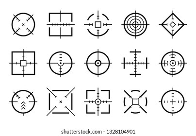 Targets destination. Aim sniper shoot focus cursor bullseye mark targeting aiming sight center game dot pointer set, vector clipart