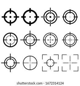Targets set destination. Aim sniper shoot focus cursor bulls eye mark, vector isolated on white